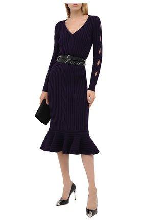 Женское шерстяное платье ALEXANDER MCQUEEN фиолетового цвета, арт. 633684/Q1AQH | Фото 2