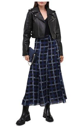 Женская шелковая юбка EMPORIO ARMANI синего цвета, арт. 9NN17T/92509   Фото 2