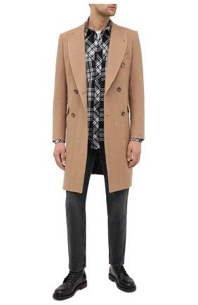 Мужской шерстяное пальто EMPORIO ARMANI бежевого цвета, арт. 91LCW0/91915   Фото 2