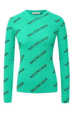 Женский пуловер с логотипом бренда BALENCIAGA зеленого цвета, арт. 570844/T6140 | Фото 1