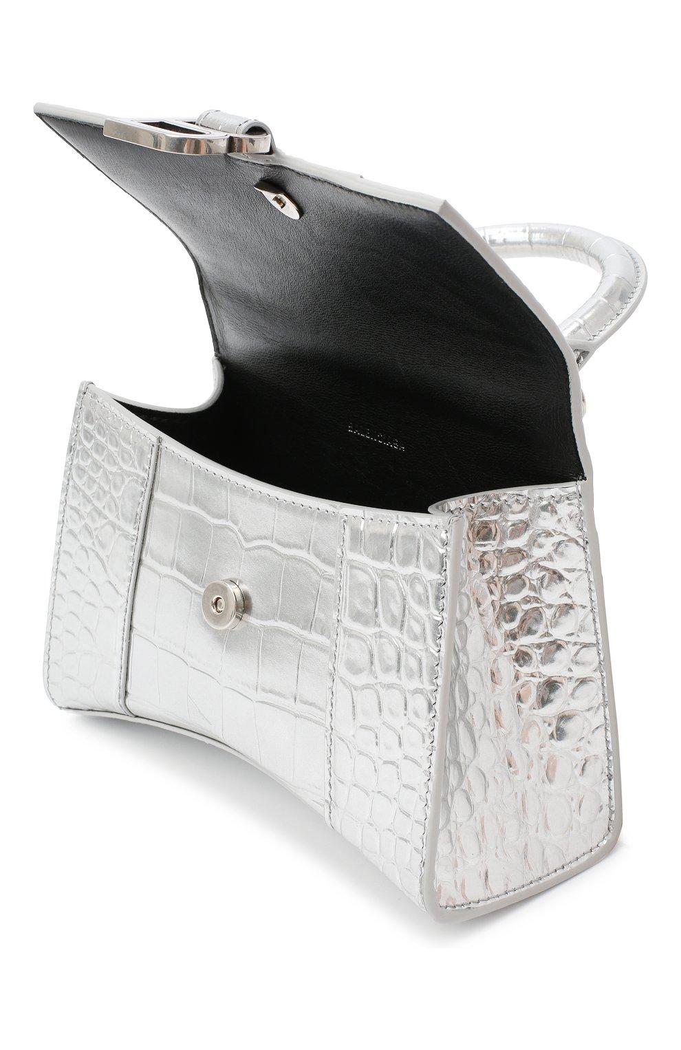 Женская сумка hourglass xs BALENCIAGA серебряного цвета, арт. 592833/1S49Y | Фото 4