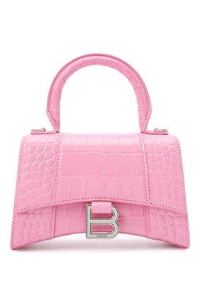 Женская сумка hourglass xs BALENCIAGA розового цвета, арт. 592833/1LR6Y   Фото 1 (Сумки-технические: Сумки через плечо, Сумки top-handle; Материал: Натуральная кожа; Размер: mini; Ремень/цепочка: На ремешке)