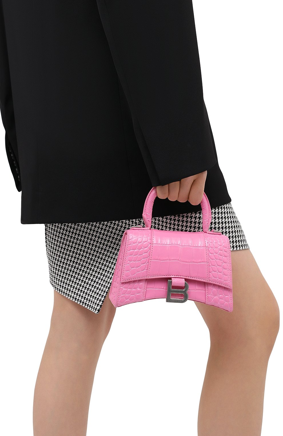 Женская сумка hourglass xs BALENCIAGA розового цвета, арт. 592833/1LR6Y   Фото 2 (Сумки-технические: Сумки через плечо, Сумки top-handle; Материал: Натуральная кожа; Размер: mini; Ремень/цепочка: На ремешке)