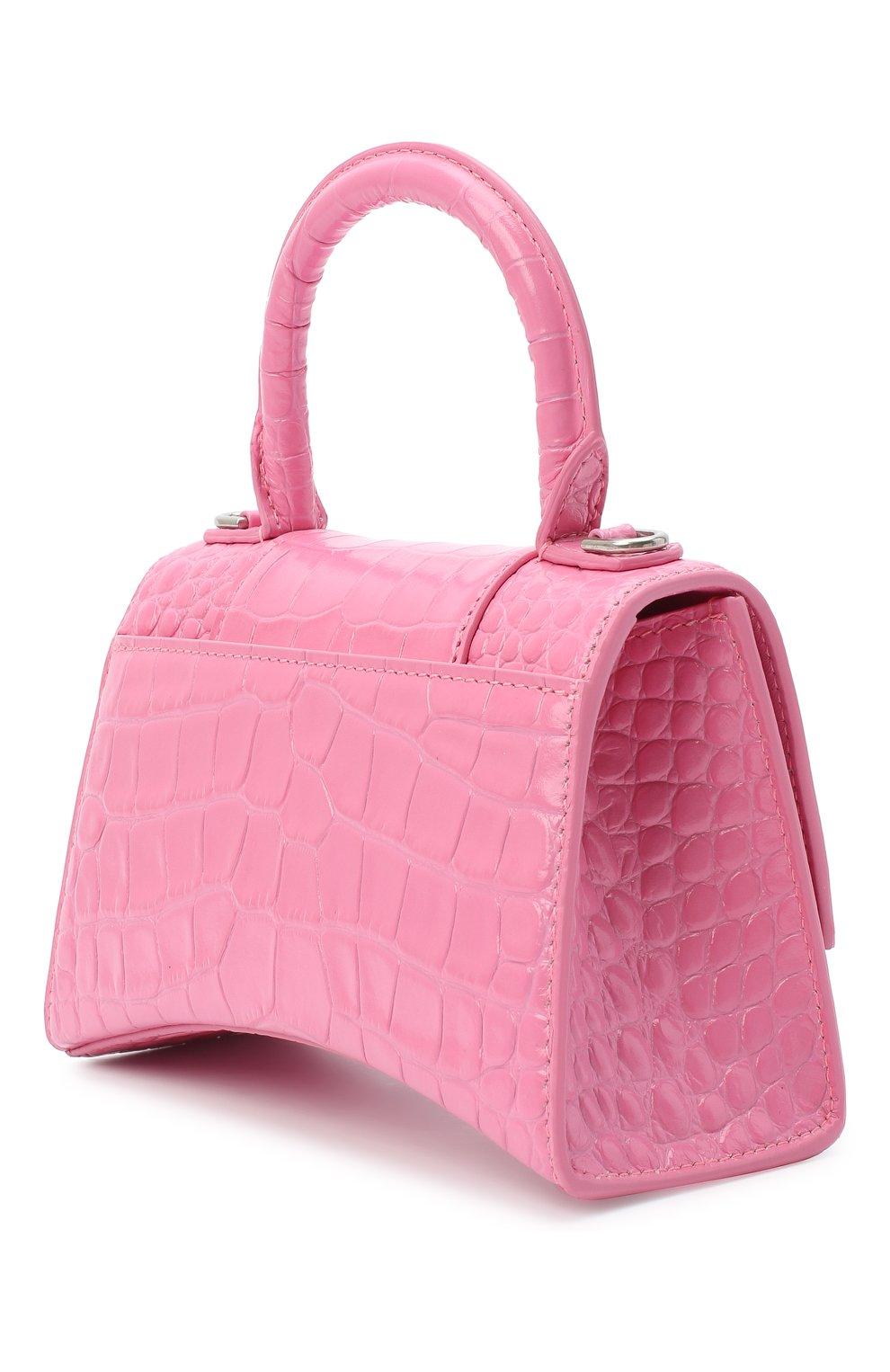 Женская сумка hourglass xs BALENCIAGA розового цвета, арт. 592833/1LR6Y   Фото 3 (Сумки-технические: Сумки через плечо, Сумки top-handle; Материал: Натуральная кожа; Размер: mini; Ремень/цепочка: На ремешке)