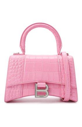 Женская сумка hourglass xs BALENCIAGA розового цвета, арт. 592833/1LR6Y   Фото 6 (Сумки-технические: Сумки через плечо, Сумки top-handle; Материал: Натуральная кожа; Размер: mini; Ремень/цепочка: На ремешке)