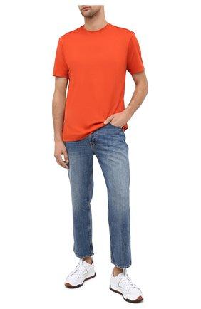 Мужская хлопковая футболка Z ZEGNA оранжевого цвета, арт. VV372/ZZ650 | Фото 2 (Материал внешний: Хлопок; Рукава: Короткие; Мужское Кросс-КТ: Футболка-одежда; Принт: Без принта; Стили: Кэжуэл)