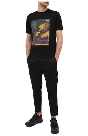 Мужская хлопковая футболка Z ZEGNA черного цвета, арт. VV372/ZZ630Z | Фото 2