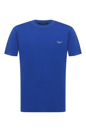 Мужская хлопковая футболка ERMENEGILDO ZEGNA синего цвета, арт. UV526/707R   Фото 1 (Длина (для топов): Стандартные; Материал внешний: Хлопок; Рукава: Короткие; Мужское Кросс-КТ: Футболка-одежда; Принт: Без принта; Стили: Кэжуэл)