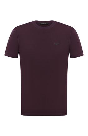 Мужская хлопковая футболка ERMENEGILDO ZEGNA фиолетового цвета, арт. UV526/707R | Фото 1 (Рукава: Короткие; Длина (для топов): Стандартные; Материал внешний: Хлопок; Мужское Кросс-КТ: Футболка-одежда; Принт: Без принта; Стили: Кэжуэл)