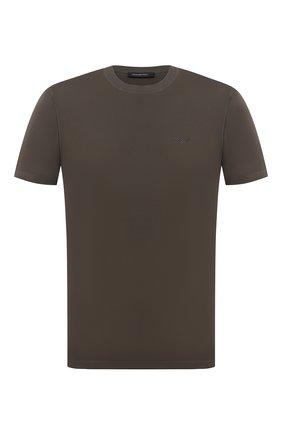 Мужская хлопковая футболка ERMENEGILDO ZEGNA хаки цвета, арт. UV526/707R | Фото 1