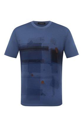 Мужская хлопковая футболка ERMENEGILDO ZEGNA синего цвета, арт. UV525/706D   Фото 1