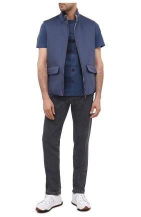 Мужская хлопковая футболка ERMENEGILDO ZEGNA синего цвета, арт. UV525/706D   Фото 2