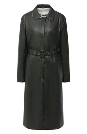 Женское кожаное пальто JIL SANDER темно-зеленого цвета, арт. JSPR651071-WRL00002A | Фото 1
