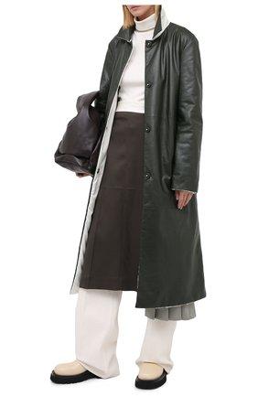 Женское кожаное пальто JIL SANDER темно-зеленого цвета, арт. JSPR651071-WRL00002A | Фото 2