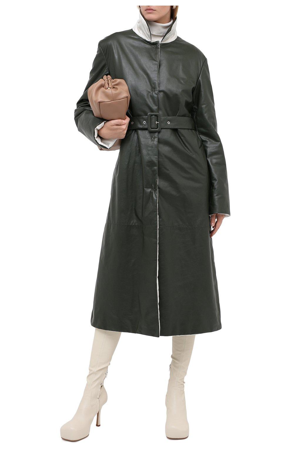 Женское кожаное пальто JIL SANDER темно-зеленого цвета, арт. JSPR651071-WRL00002A | Фото 3