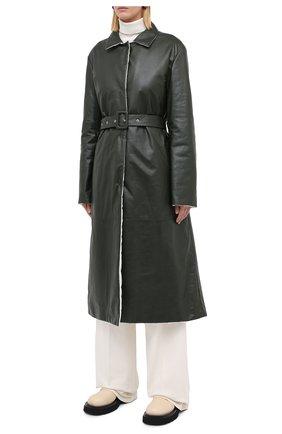 Женское кожаное пальто JIL SANDER темно-зеленого цвета, арт. JSPR651071-WRL00002A | Фото 4