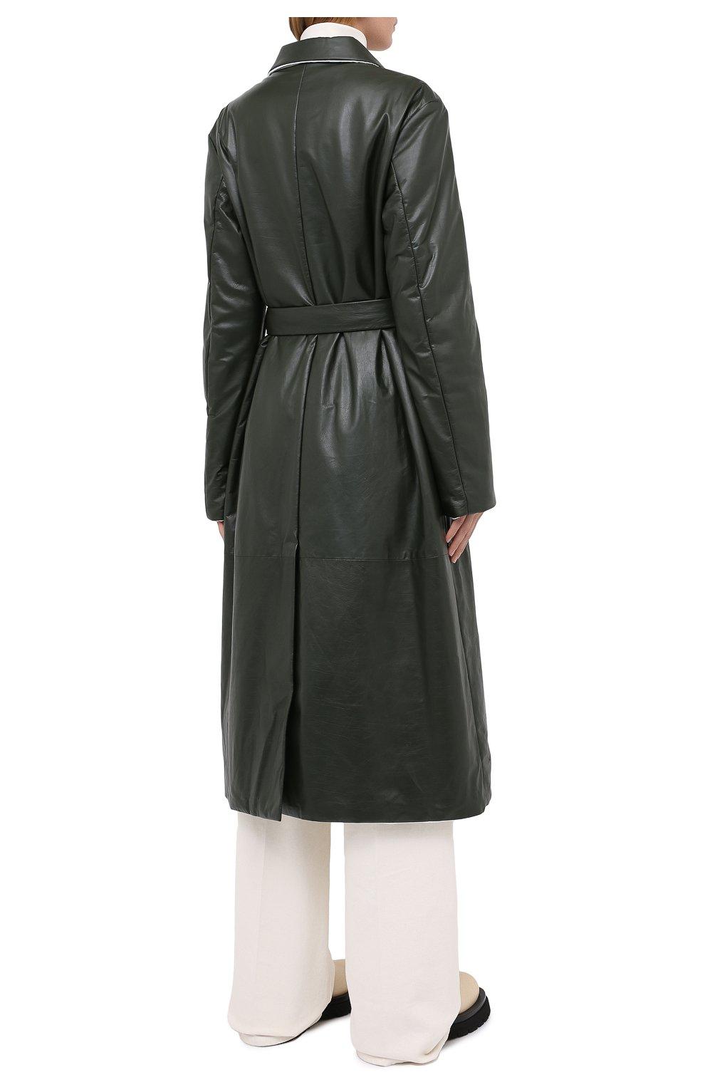 Женское кожаное пальто JIL SANDER темно-зеленого цвета, арт. JSPR651071-WRL00002A | Фото 5