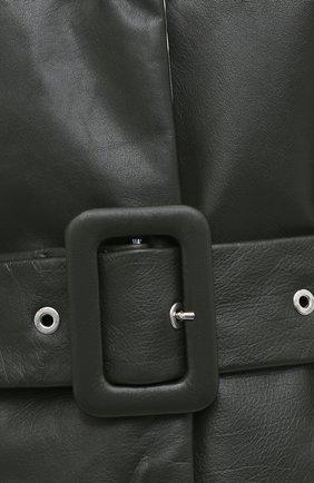 Женское кожаное пальто JIL SANDER темно-зеленого цвета, арт. JSPR651071-WRL00002A | Фото 6