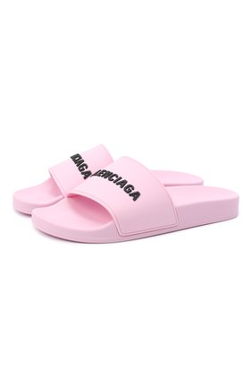 Женские резиновые шлепанцы piscine BALENCIAGA светло-розового цвета, арт. 565547/W1S80 | Фото 1