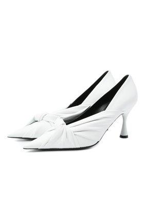 Женские кожаные туфли drapy BALENCIAGA белого цвета, арт. 617578/WA2M0 | Фото 1 (Подошва: Плоская; Материал внутренний: Натуральная кожа; Каблук высота: Высокий; Каблук тип: Шпилька)