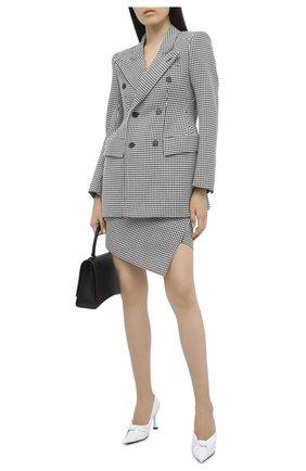 Женские кожаные туфли drapy BALENCIAGA белого цвета, арт. 617578/WA2M0 | Фото 2 (Подошва: Плоская; Материал внутренний: Натуральная кожа; Каблук высота: Высокий; Каблук тип: Шпилька)