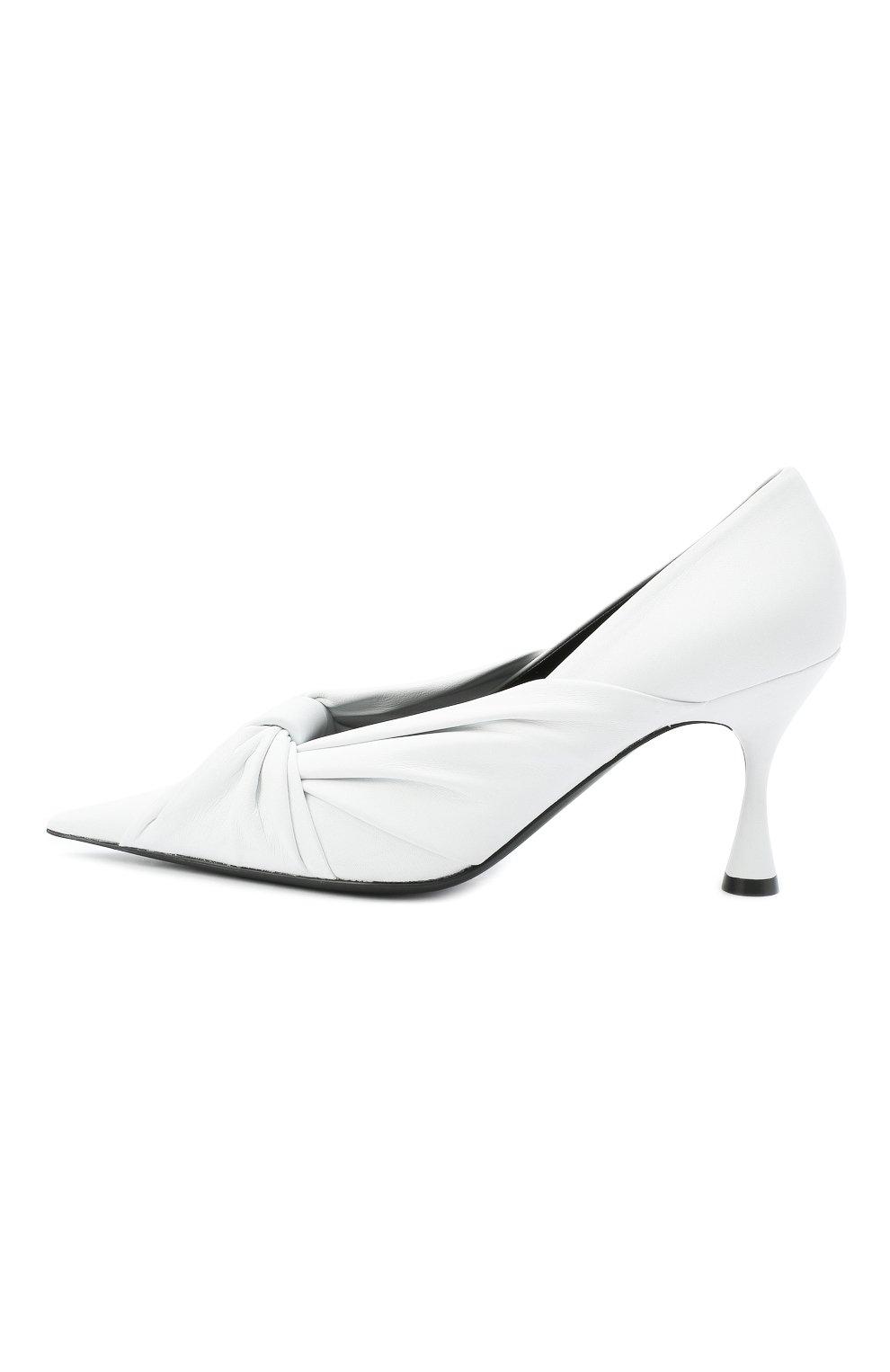 Женские кожаные туфли drapy BALENCIAGA белого цвета, арт. 617578/WA2M0 | Фото 3