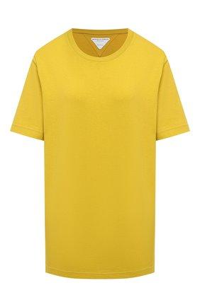Женская хлопковая футболка BOTTEGA VENETA желтого цвета, арт. 636861/VF1U0 | Фото 1