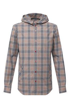 Мужская хлопковая рубашка KITON бежевого цвета, арт. UMCMARH0748711 | Фото 1