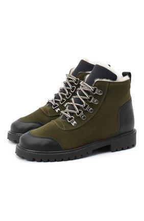 Детские замшевые ботинки IL GUFO хаки цвета, арт. G420/VEL0UR/35-42   Фото 1 (Материал утеплителя: Натуральный мех; Материал внешний: Кожа; Кросс-КТ: хайкеры)