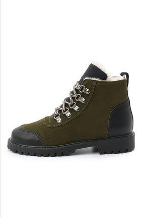 Детские замшевые ботинки IL GUFO хаки цвета, арт. G420/VEL0UR/35-42   Фото 2 (Материал утеплителя: Натуральный мех; Материал внешний: Кожа; Кросс-КТ: хайкеры)