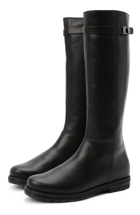 Детские кожаные сапоги IL GUFO черного цвета, арт. G500/VITELL0 NAPPAC0L0RS/35-42   Фото 1