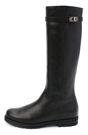 Детские кожаные сапоги IL GUFO черного цвета, арт. G500/VITELL0 NAPPAC0L0RS/35-42   Фото 2