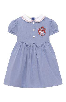 Женский хлопковое платье GUCCI голубого цвета, арт. 622178/ZABNG   Фото 1