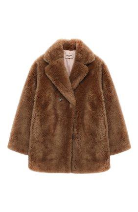 Детское шерстяное пальто YVES SALOMON ENFANT коричневого цвета, арт. 21WEM606XXLATI/8-10 | Фото 1