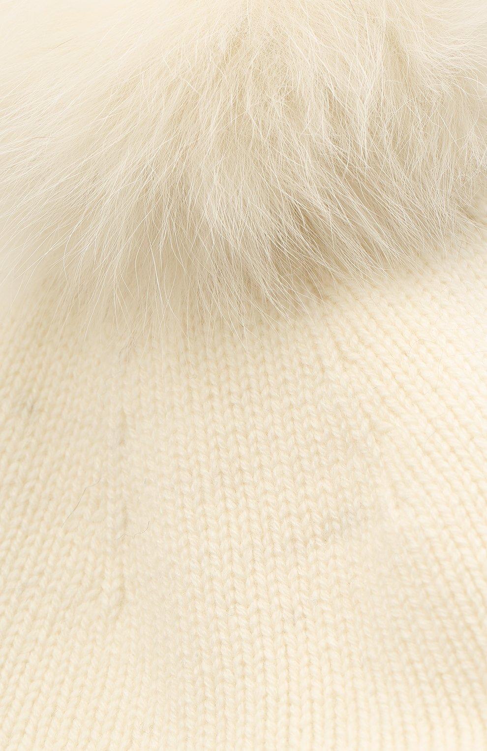 Детский шерстяной берет YVES SALOMON ENFANT белого цвета, арт. 20WEA506XXMARD   Фото 3 (Материал: Шерсть)