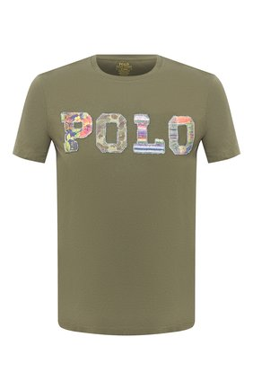 Мужская хлопковая футболка POLO RALPH LAUREN зеленого цвета, арт. 710803501 | Фото 1