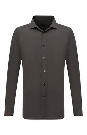 Мужская хлопковая сорочка ERMENEGILDO ZEGNA хаки цвета, арт. 801072/9MS0BR | Фото 1