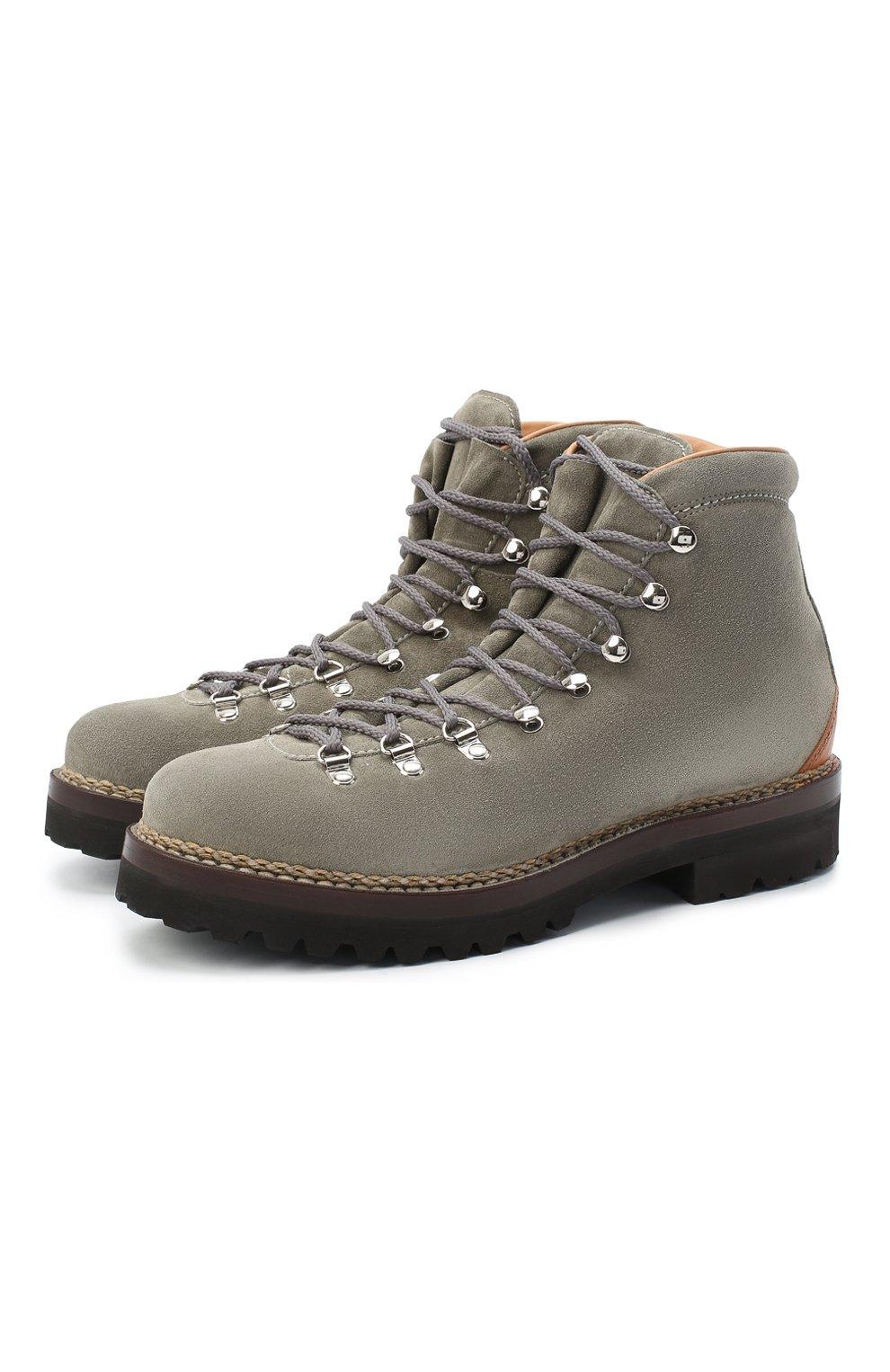 Мужские замшевые ботинки RALPH LAUREN серого цвета, арт. 815811330   Фото 1