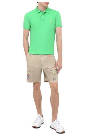 Мужское хлопковое поло POLO RALPH LAUREN светло-зеленого цвета, арт. 710536856 | Фото 2
