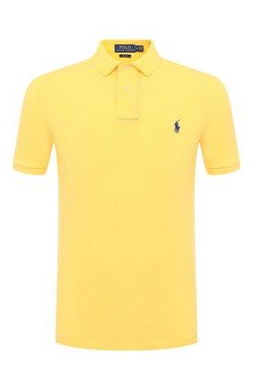 Мужское хлопковое поло POLO RALPH LAUREN желтого цвета, арт. 710536856 | Фото 1