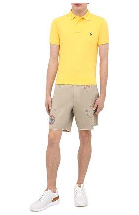 Мужское хлопковое поло POLO RALPH LAUREN желтого цвета, арт. 710536856 | Фото 2