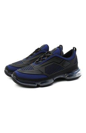 Мужские комбинированные кроссовки PRADA черного цвета, арт. 2EG298-2OD8-F0KUC   Фото 1