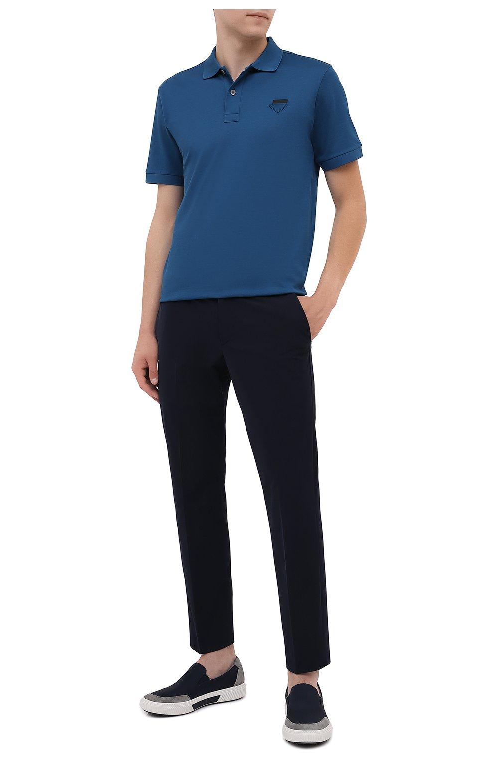 Мужские комбинированные слипоны PRADA синего цвета, арт. 4D3475-3OF1-F0ZDS | Фото 2