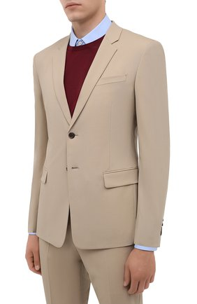 Мужской шерстяной костюм PRADA бежевого цвета, арт. UAE482-1MPI-F0065-201 | Фото 2