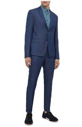 Мужская хлопковая сорочка PRADA бирюзового цвета, арт. UCN160-1VYU-F0089-181   Фото 2