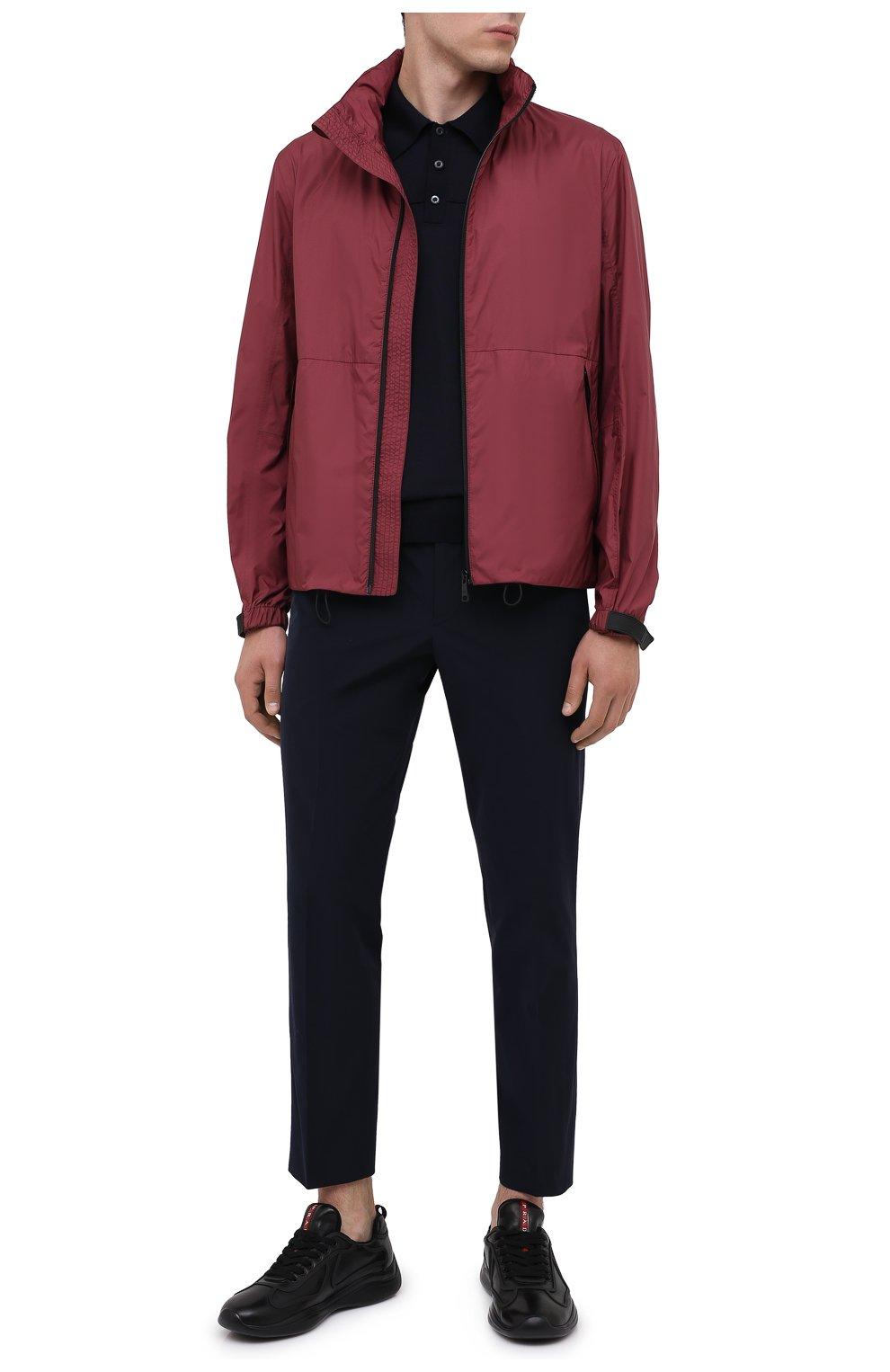Мужские кожаные кроссовки PRADA черного цвета, арт. 4E3390-072-F0002 | Фото 2 (Стили: Классический; Подошва: Массивная)