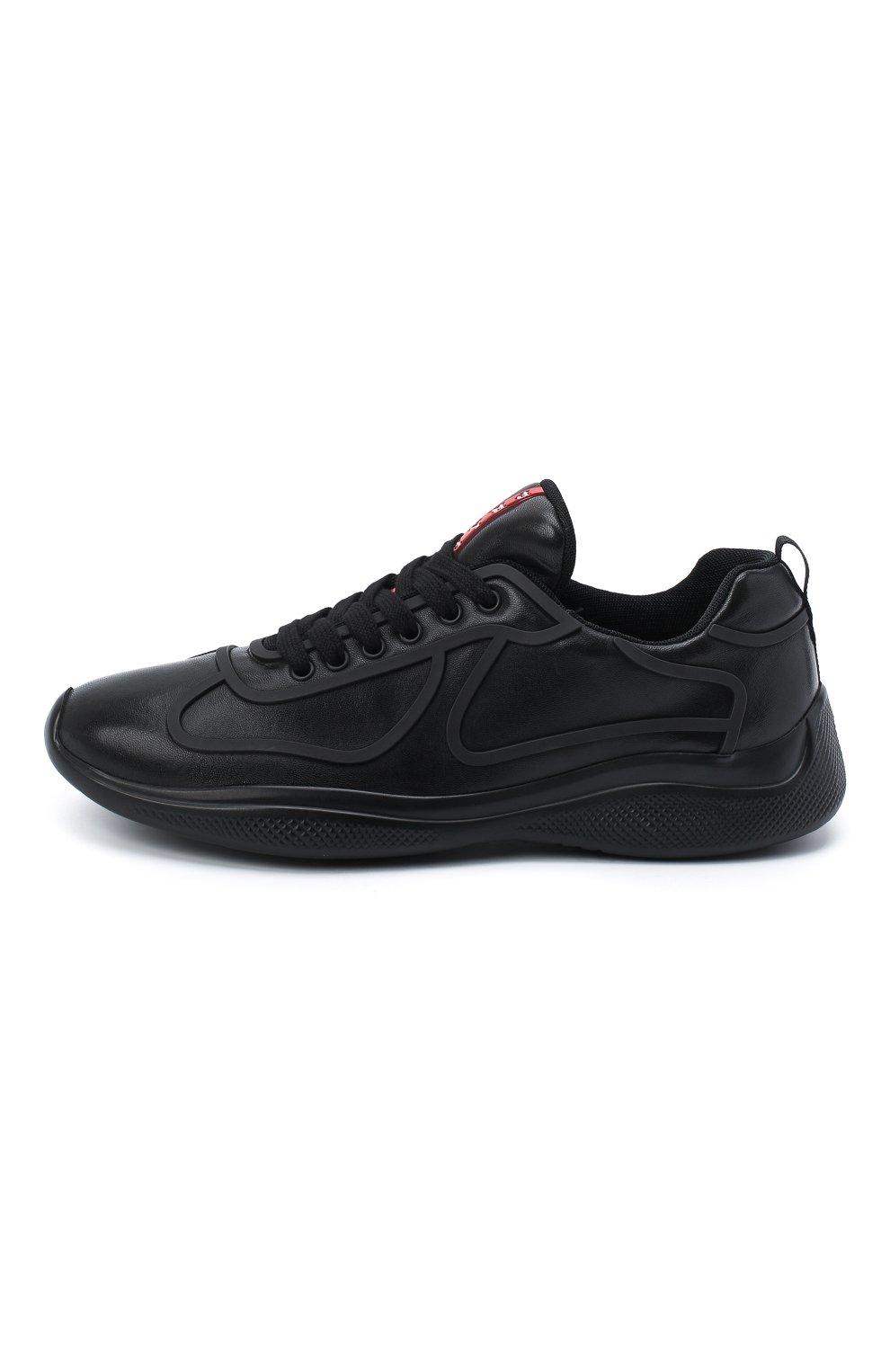 Мужские кожаные кроссовки PRADA черного цвета, арт. 4E3390-072-F0002 | Фото 3 (Стили: Классический; Подошва: Массивная)