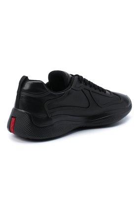 Мужские кожаные кроссовки PRADA черного цвета, арт. 4E3390-072-F0002 | Фото 4 (Стили: Классический; Подошва: Массивная)