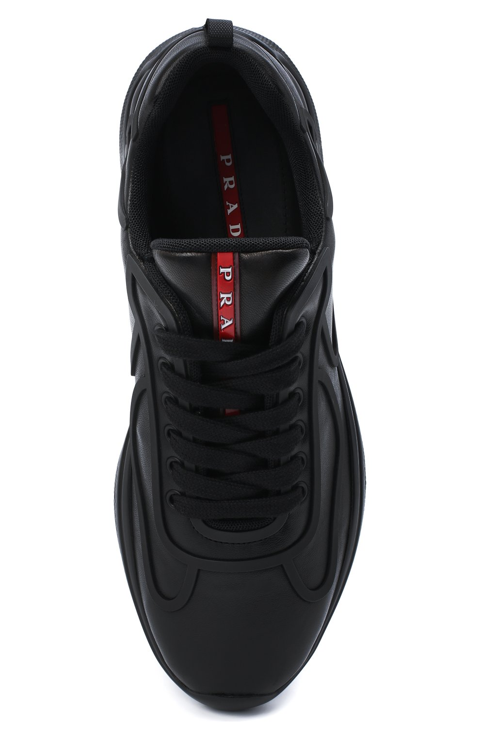 Мужские кожаные кроссовки PRADA черного цвета, арт. 4E3390-072-F0002 | Фото 5 (Стили: Классический; Подошва: Массивная)