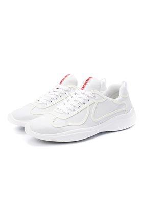 Мужские кожаные кроссовки PRADA белого цвета, арт. 4E3390-072-F0009 | Фото 1